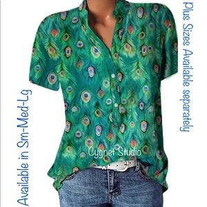 Peacock Feather Short Sleeve Blouse - Various